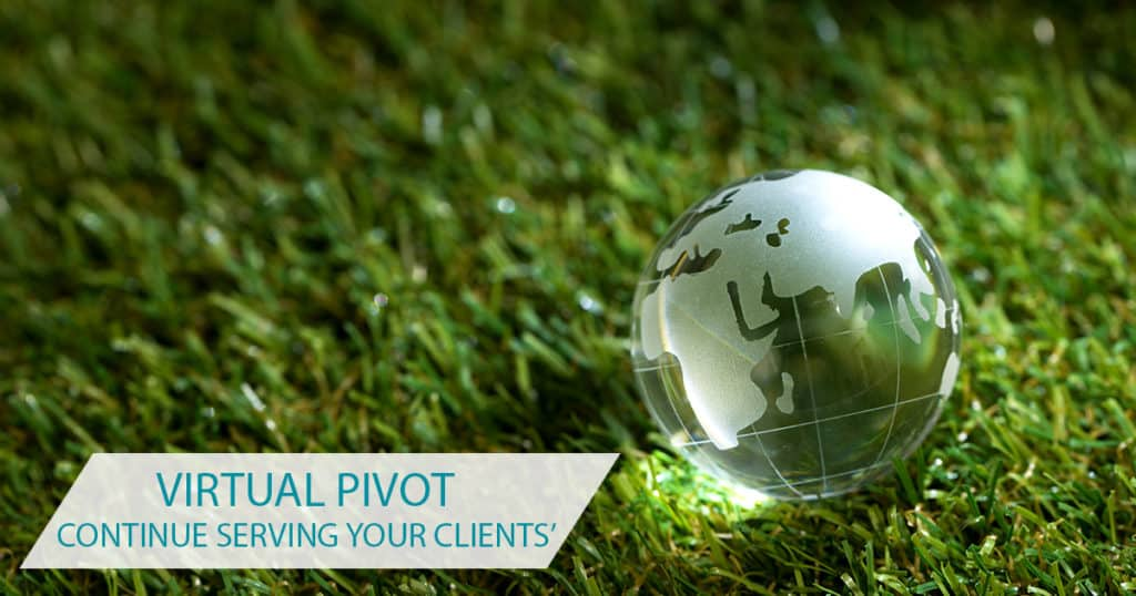 Pivot sign with globe and grass
