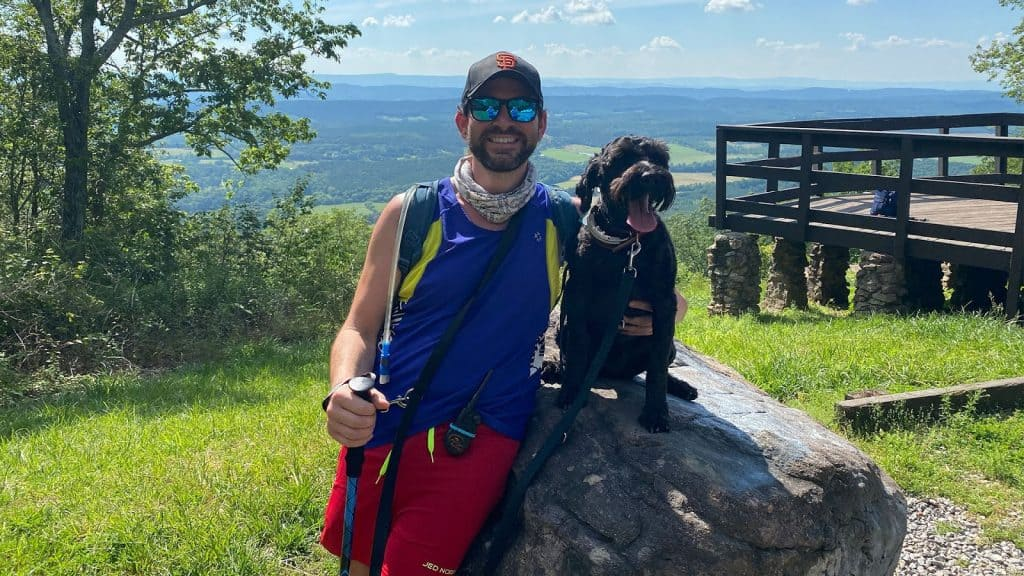 Jeremy on a Hike exercise and fitness with Remy